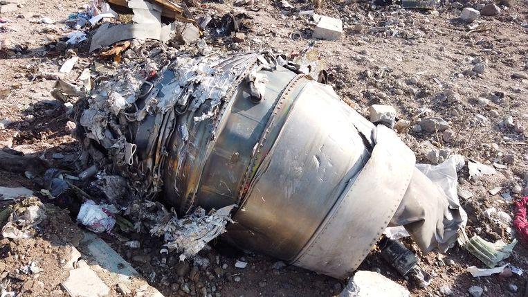 Brokstukken van de neergeschoten Boeing.