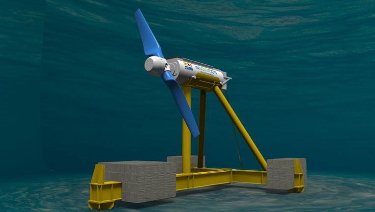 Een onderwatermolen zoals die nu bij de Shetland Eilanden op de zeebodem staat. Beeld Nova Innovation