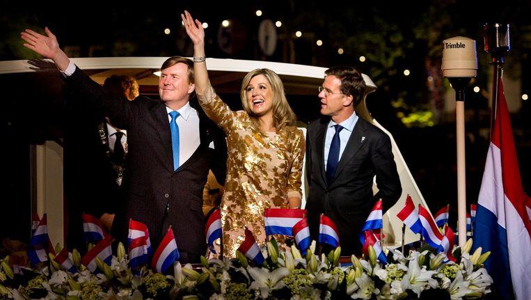 Koning Willem-Alexander en koningin Maxima varen weg na afloop van het Bevrijdingsconcert vorig jaar Beeld ANP