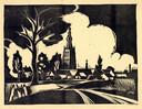 Jan Naaijkens, Gezicht op Hilvarenbeek - 1948, linosnede 216 x 285 mm.