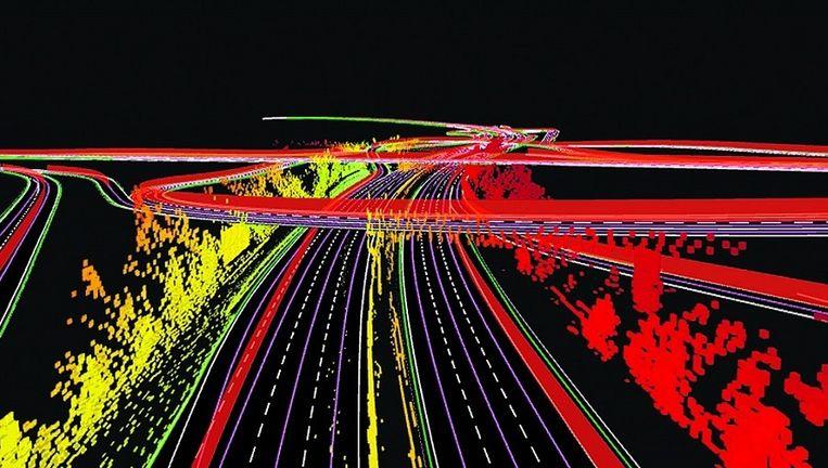 Gedetailleerde 3d-kaarten die TomTom heeft ontworpen voor zelfsturende auto's. De robotauto heeft genoeg aan de contouren van objecten om zonder brokken te kunnen rijden, beweert TomTom. Beeld null