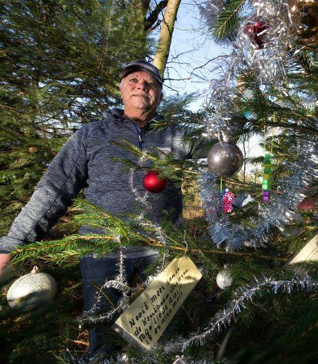 Versierde kerstboom in het bos is een eerbetoon van Henk (82) aan zijn overleden Rietje: 'Ik wilde dit alleen doen'