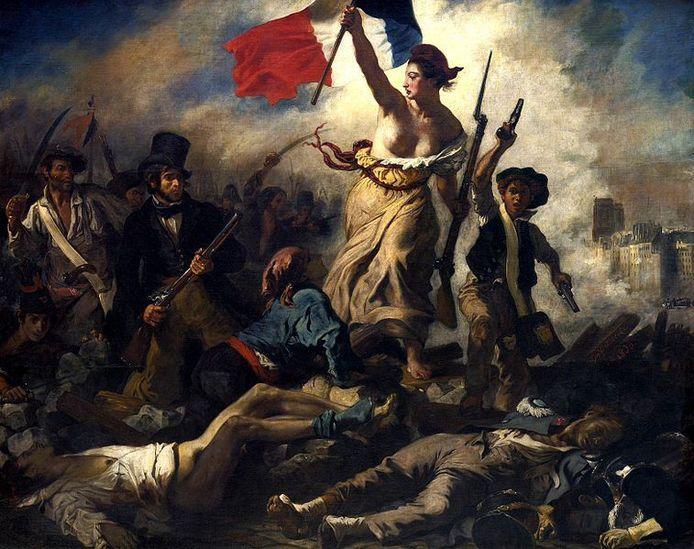 """Inspirée de la révolution des Trois Glorieuses, et non de la Révolution française, comme il est souvent mentionné à tort, """"La Liberté guidant le peuple"""" (1830) d'Eugène Delacroix est devenu un symbole républicain."""