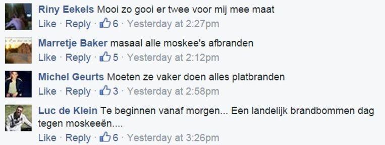 Enkele reacties op de Facebookpagina 'Steun de PVV'. Beeld Facebook