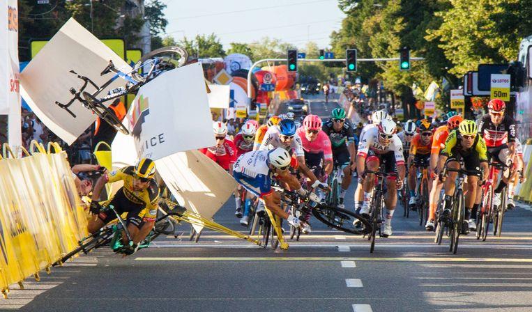 Fabio Jakobsen crashte twee weken geleden tijdens de Ronde van Polen. Beeld BSR Agency