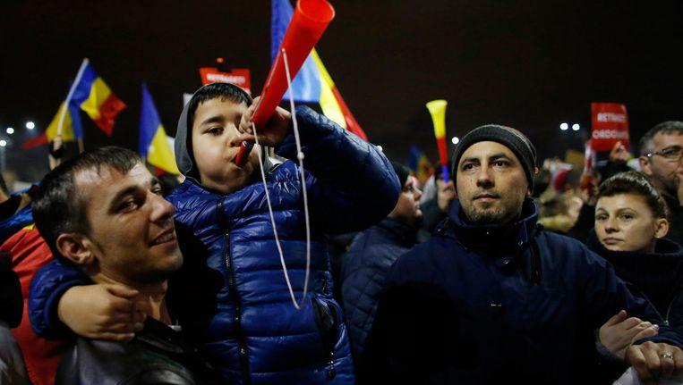 Demonstratie in Boekarest. Beeld ap