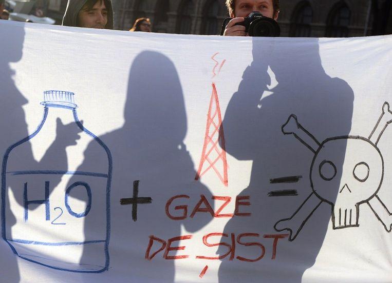 Protesten tegen het winnen van schaliegas Beeld afp