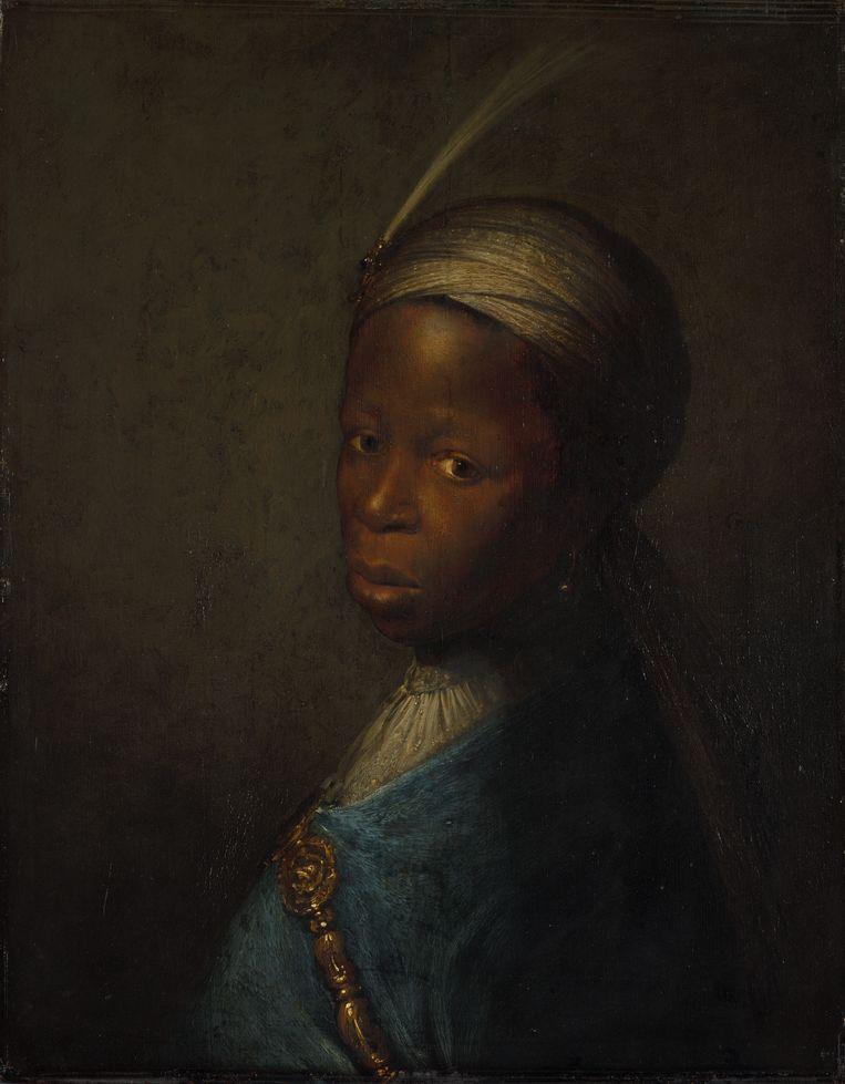 Tronie van een jongen met een tulband van Gerrit Dou Beeld