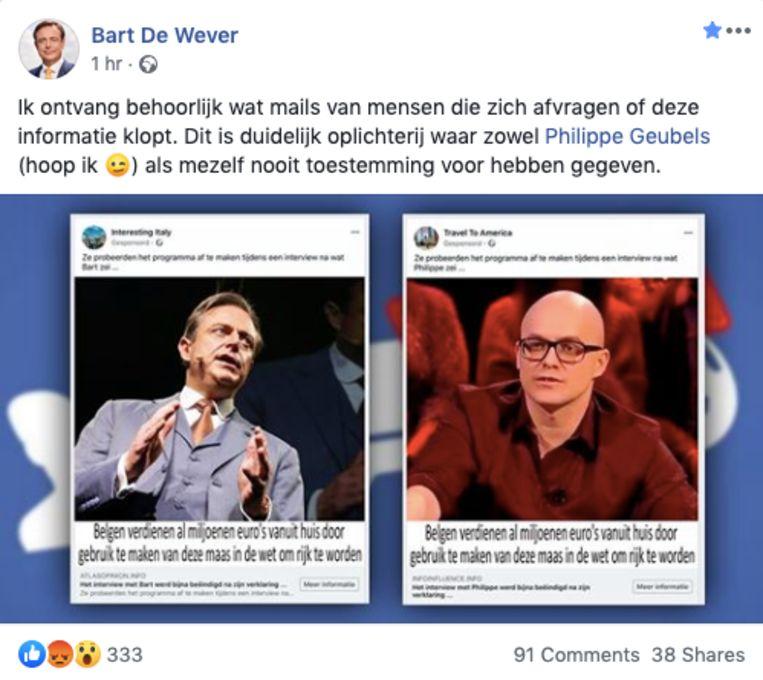 Foto's van Bart De Wever en Philippe Geubels misbruikt voor reclame.