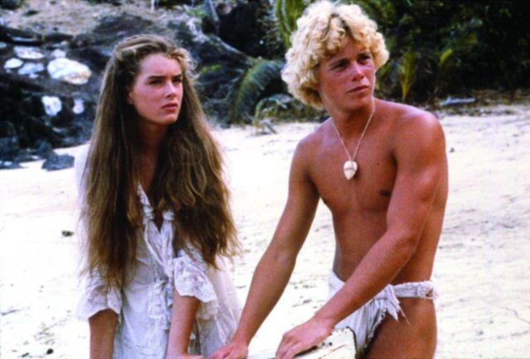 Brooke Shields en Christopher Atkins in The Blue Lagoon. Beeld filmbeeld