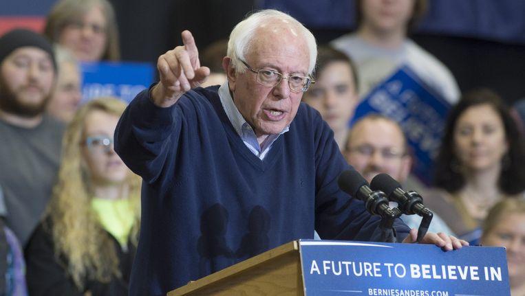 Bernie Sanders tijdens een evenement in de staat New Hampshire. Beeld null