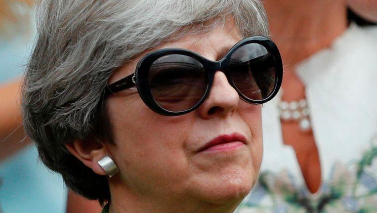 Premier Theresa May op Wimbledon tijdens de mannenfinale. Beeld afp