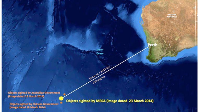 Plek waar de objecten in zee zijn gezien. Beeld getty
