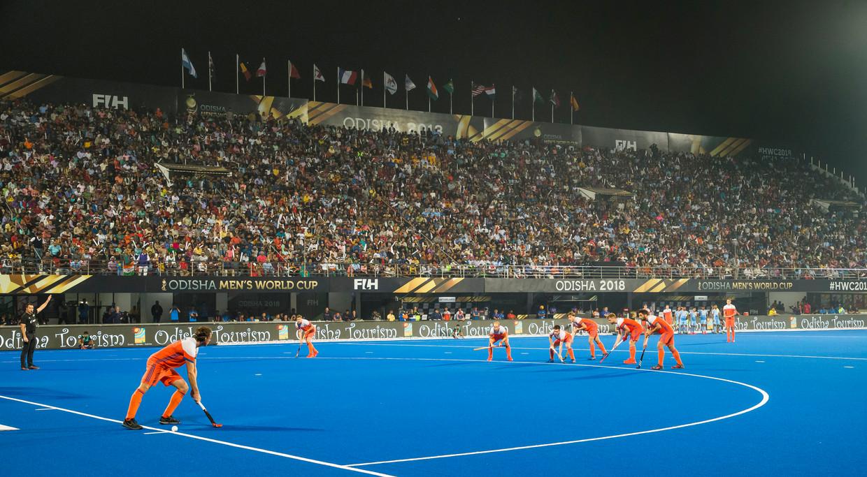 Het beeld van de Nederlandse strafcorner, vorig jaar bij het WK India.