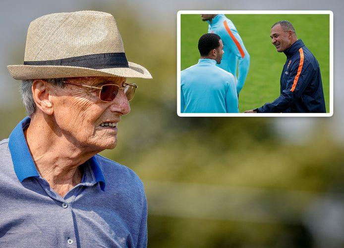Als het aan Piet de Visser ligt, wordt Ruud Gullit bondscoach.Inzetje: Gullit praat als assistent-bondscoach met Memphis Depay.