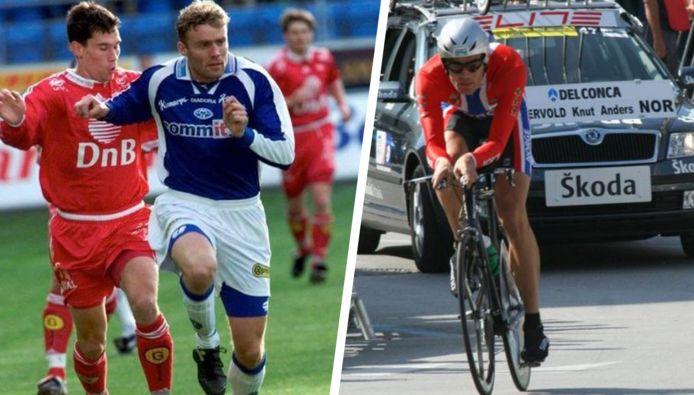 Knut Anders Fostervold, links als voetballer en rechts als wielrenner.