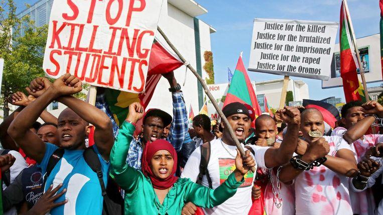 Een protest tegen de regering in Ethiopië. Beeld epa