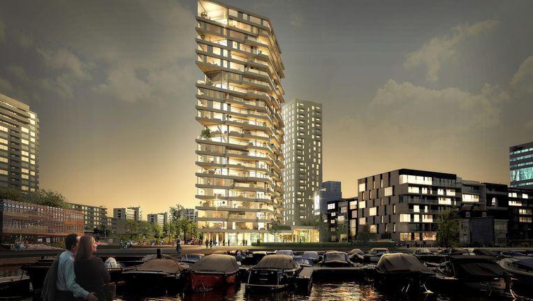 Impressie van de toekomstige woontoren in het Amstelkwartier Beeld Team V Architectuur