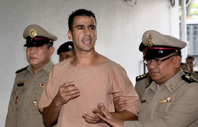 Hakeem al-Araibi eerder deze maand bij de rechtbank in Bangkok.