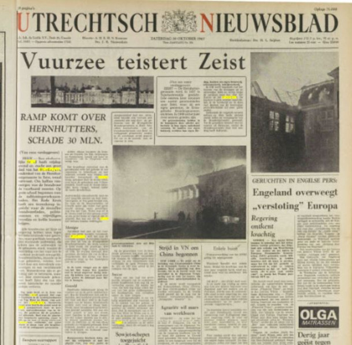 Voorpagina Utrechtsch Nieuwsblad 28 oktober 1967.