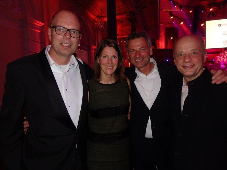 De organisatie: Roland van Maanen (ABN Amro), Mary Hoogerbrugge (De Positioneerders), Dick van der Lecq (Etcetera) en Tex Gunning (Leaseplan, vlnr) Beeld Schuim