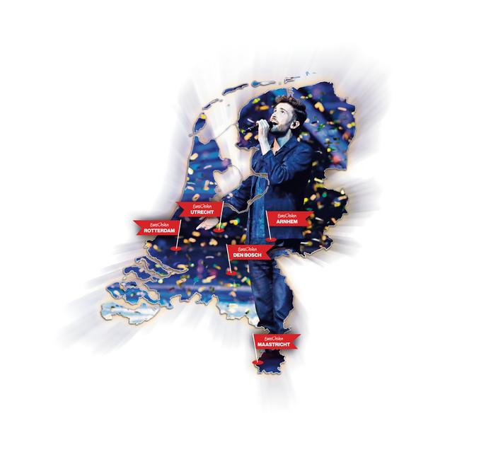 De winst van Duncan Laurence zorgde er voor dat Nederland het Songfestival mag organiseren. Er zijn nog zes steden in de race. Illustratie uit archief.