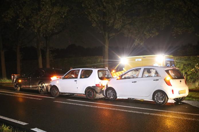 De drie auto's na het ongeluk bij Ederveen.