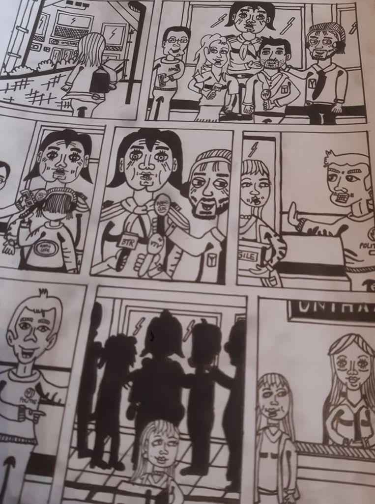 In het Clara Kramer stripverhaal van Wim Vlieg duiken verschillende bekende en minder bekende journalisten op.