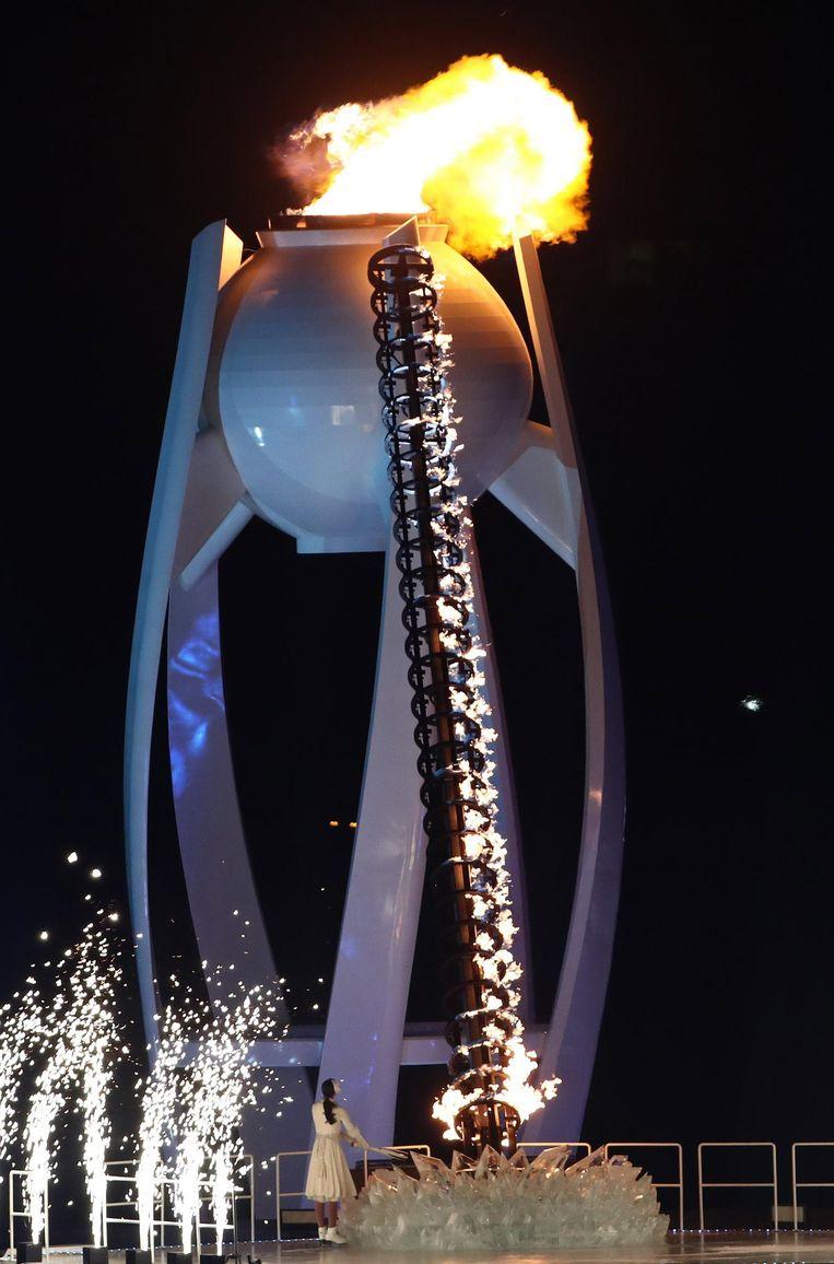 Kunstschaatsster Kim Yuna ontsteekt vrijdag het Olympisch vuur in Pyeongchang. Beeld epa