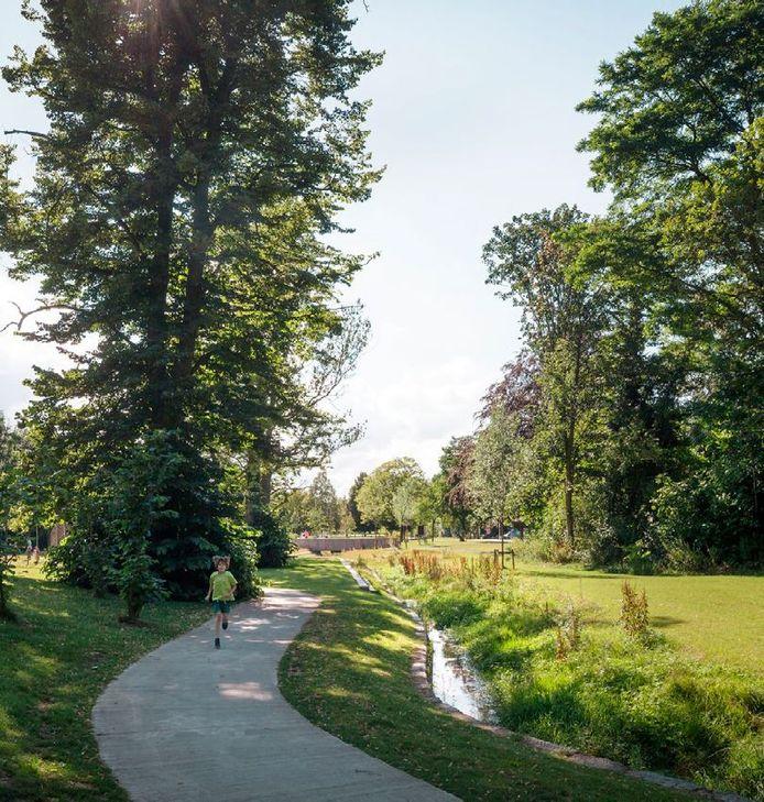 Een simulatie van het vernieuwde dorpspark in Massenhoven.