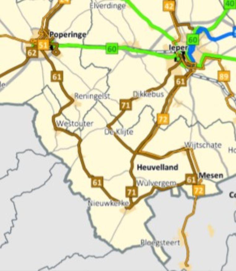 Lijn 61 verbindt alle dorpen van Heuvelland, uitgezonderd De Klijte. Lijn 71 doet De Klijte wel aan.