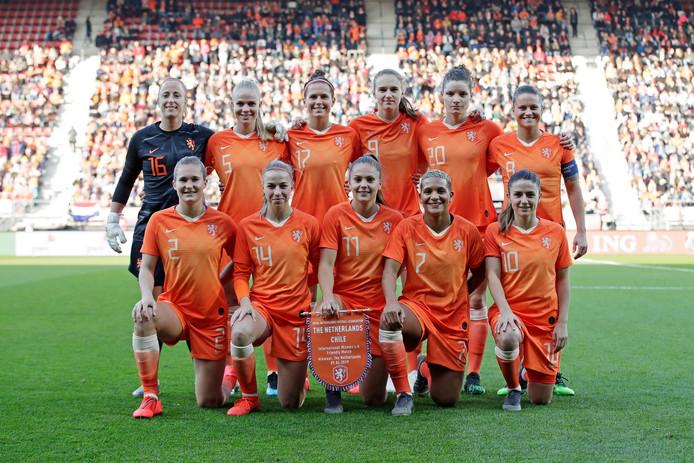 De basiself van Oranje tegen Chili (7-0 winst) gisteravond in Alkmaar.