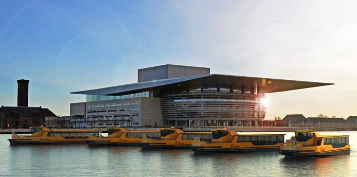 Een impressie van de nieuwe veerschepen die Damen Shipyards gaat bouwen in opdracht van Arriva Denemarken.