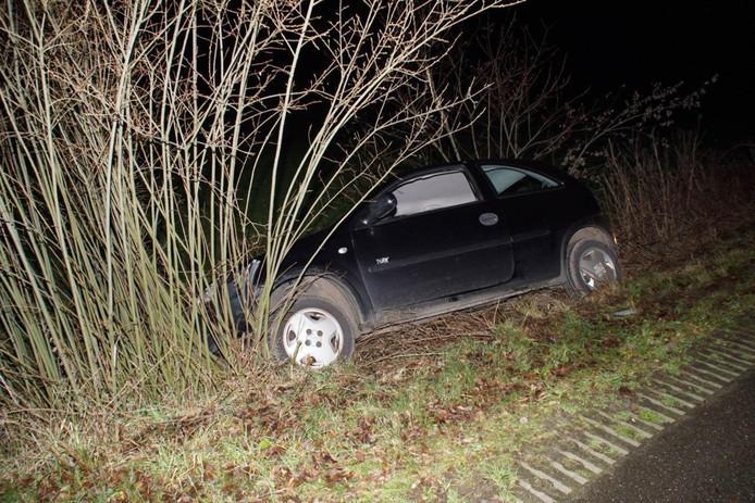 De auto kwam tegen de struiken tot stilstand.