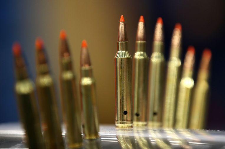 Kogels zijn te koop op een bijeenkomst van de NRA in Dallas in de staat Texas.  Beeld AFP