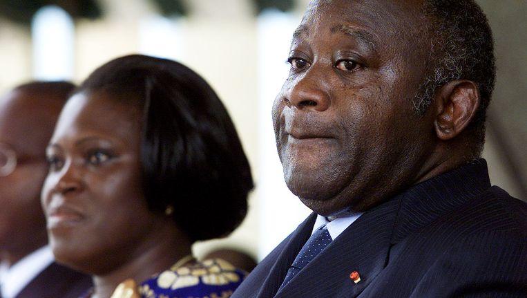 Simone en Laurent Gbagbo. Beeld AFP
