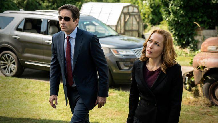 David Duchovny en Gillian Anderson in de The X-Files-miniserie. Beeld ap