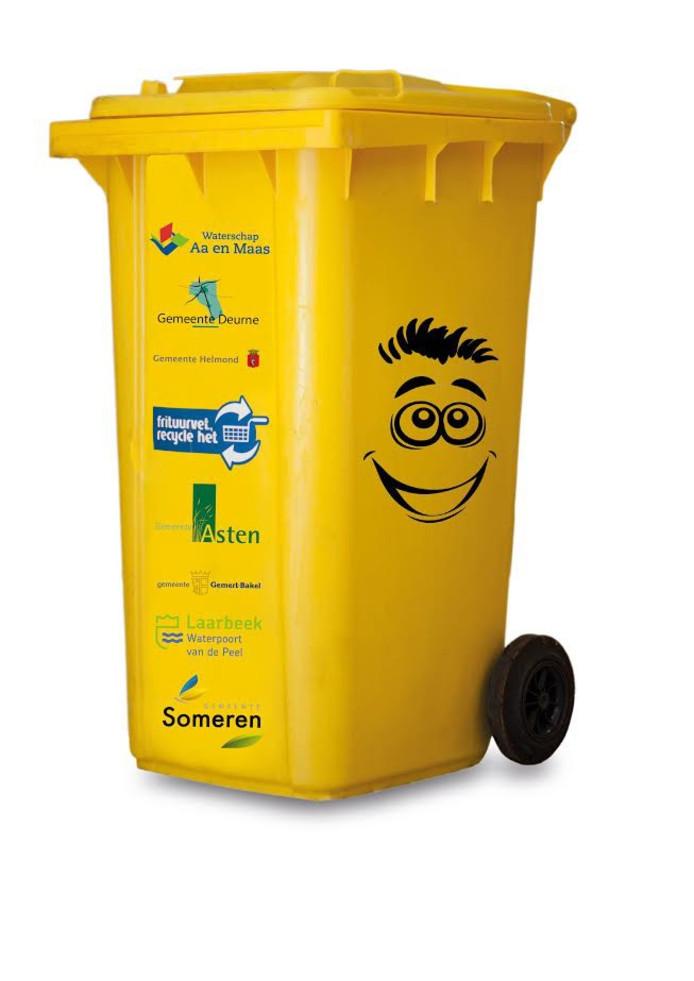 De gele container voor gebruikt vet en olie.