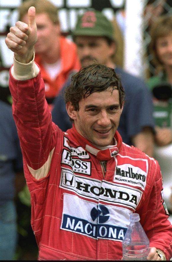 Ayrton Senna in 1992 na zijn zege in de Grote Prijs van Monaco.