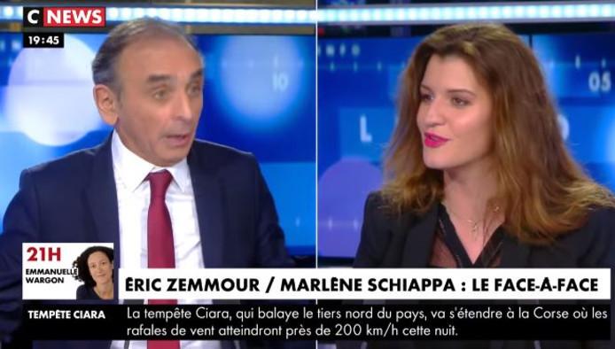 """L'émission """"Face à l'Info"""" sur CNews a organisé lundi un débat tendu entre Marlène Schiappa et Eric Zemmour"""