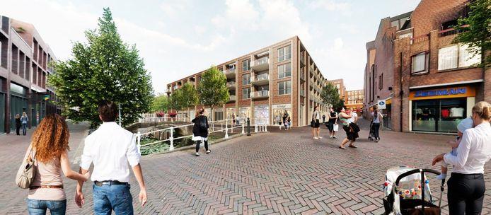 Impressie van het uiterlijk van de in aanbouw zijnde Bastiaanpoort, waar boven de winkels duurdere huurwoningen komen.