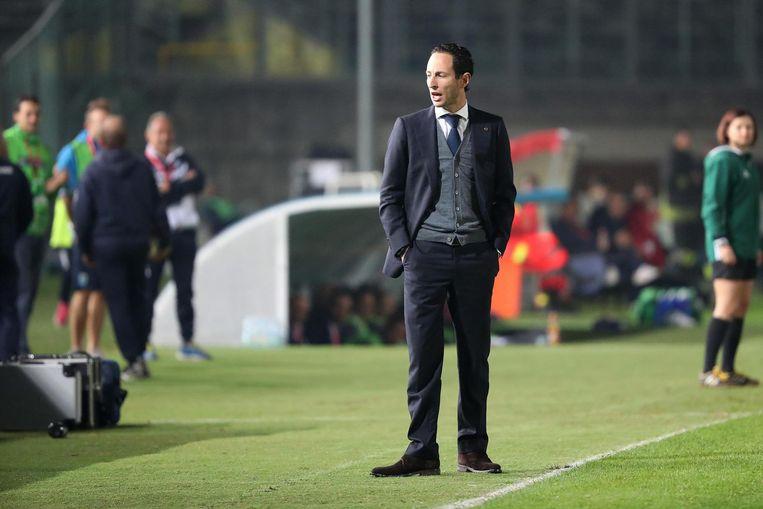 Ajax-coach Benno Nihom tijdens de Champions League-wedstrijd tegen Brescia. Beeld ANP