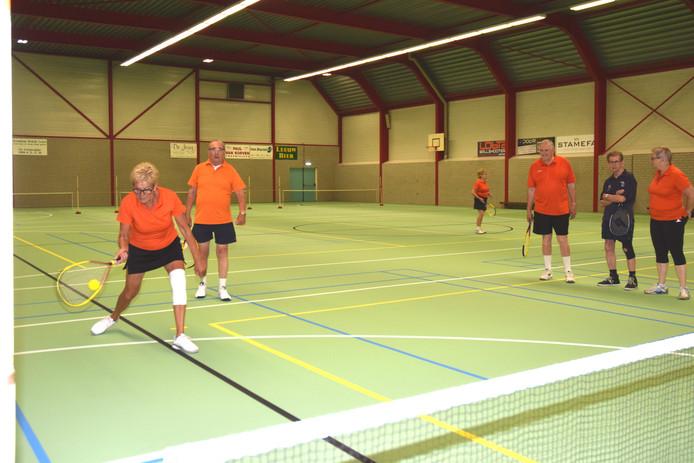 Leden van DTC De Wissel spelen een potje dynamictennis.