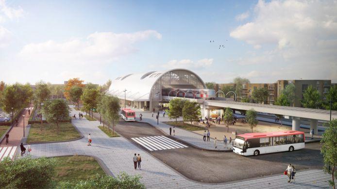 Een impressie van het nieuwe metrostation.