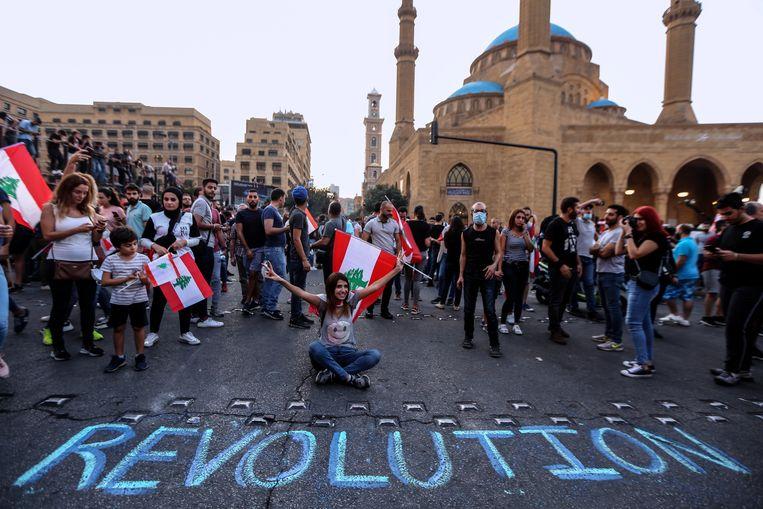 Protesten in Beiroet gisteren.