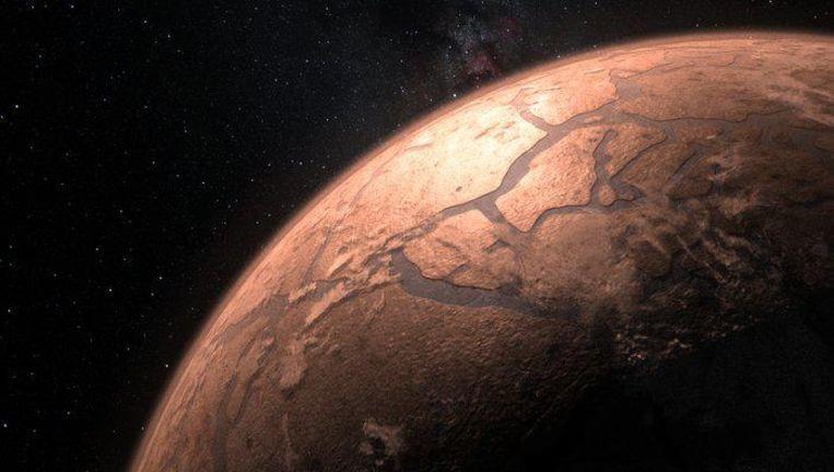 Impressie van de planeten rondom de ster TRAPPIST-1. Nieuw onderzoek wijst uit dat de planeten veel water bevatten. De buitenste planeten hebben waarschijnlijk een bevroren ijskorst; de binnenste misschien een sauna-achtige atmosfeer van stoom. Beeld ESO/M. Kornmesser