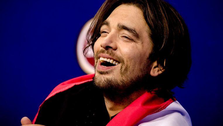Waylon tijdens de persconferentie na afloop van de tweede halve finale van het Eurovisiesongfestival Beeld ANP Kippa