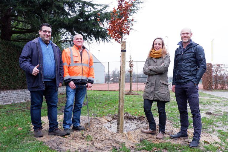Schepenen Tonny Kauffmann (links) en Liesbeth Fransen (tweede van rechts) kijken samen met burgemeester Raf Drieskens (rechts) tevreden toe hoe de eerste klimaatbomen worden geplant.