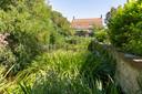 De Vaete aan de Korte Nobelstraat in Zierikzee is overwoekerd door planten en bomen. Onder het groen hebben wortels grote scheuren getrokken in de muren van de monumentale veedrinkplaats.