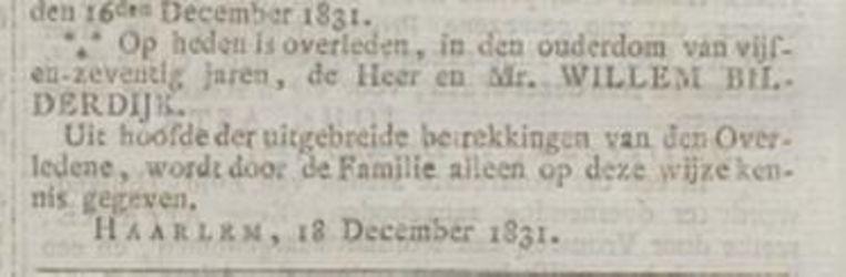 Oprechte Haerlemse Courant, 18 december 1831.  Beeld
